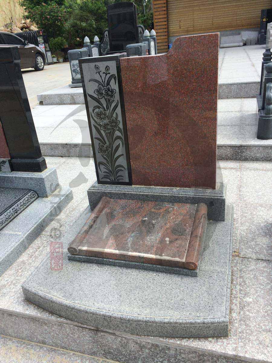 印度红主碑板 简单款艺术石碑 黑色线雕花纹墓碑