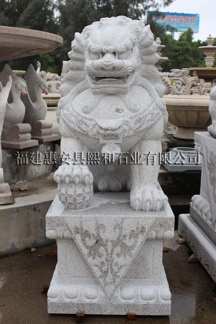 石雕石狮子一对,石雕汉白玉招财石狮子,石雕潮州狮